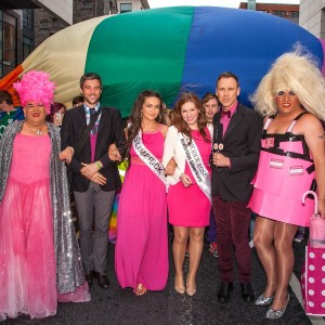 A sea of pink for Marriage Equality at the Limerick Pride Parade 2013. Richard pictured with Sheila Fitspatrick, Hugo Dahn, Miss Limerick Shauna Lindsay, Chole Heslin, the Limerick Rose and Madonna Lucia. Picture: Dolf Patijn.