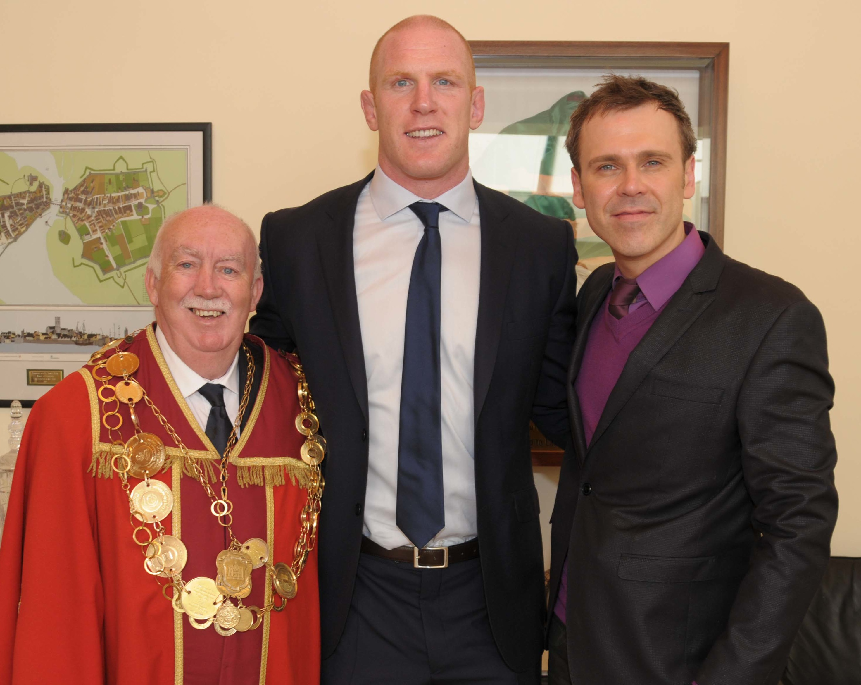At City Hall, Richard with Mayor Jim Long and Paul O Connell who received the Freedom of Limerick. Photo by Paul Mullins