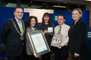 Lord Mayor of Dublin Naoise Ó Muirí , Dr. Dominique Bouchard, Education and Outreach Officer, Hunt Musuem Limerick, Jacqui Hayes, Limerick City Archivist, Dr Edward Whelan, historian and Brid Horan Executive Director Services & Electric Ireland