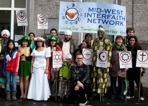 Richard pictured with The Mid West Interfaith Network and friends outside the offices of Doras Luimni Limerick. Photo by Cillian Keogh