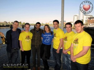 Richard with Dermot Sheedy and Darragh Graham of Hermitage Green,  Eileen Whelan of the Pieta House Darkness into Light Committee and Munster players Conor Murray, Sean Scanlon and Mike Sherry at the launch of the Pieta House Mind our Men campaign Limerick. Picture: Chris Luszczki