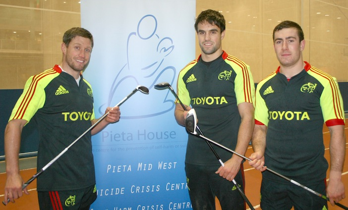 Ronan O'Gara, Conor Murray and JJ Hanrahan launch the Pieta House Munster Golf Challenge