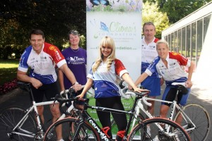 Pictured at the launch of the 6th Annual Cliona's Foundation Cycle (L to R) David Wallace, Terry Ring, Brendan Ring Front: Leanne Moore, Joy Neville