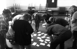 Members of The Limerick Experiment brainstorming ideas with facilitator Gavin Kostick on Day 1 of the process.