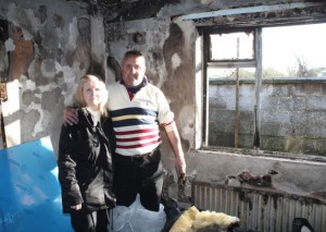Suzanne and Ger Roche in the room where the fire started. Picture Michael Cowhey