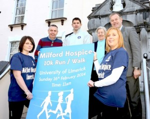 The Milford Hospice 10km Run was launched by Limerick Football Club Manager Stuart Taylor pictured here with Caroline Carey, Milford Care Centre, Declan Deegan, Sr Plylis, Pat Quinlan Chief Executive of Milford Care Centre and Anne Marie Hayes,Fundraising Supervisor, Milford Care Centre. Picture: Keith Wiseman