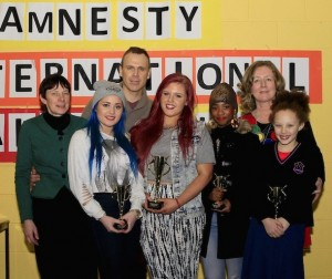 Richard pictured at the Salesian's Talent Show Amnesty fundraiser with Principal Sr.Bridgit, winners Kayleigh Bullman, Jessica Hockedy, Beauty Malo and Jasmine Rush and teacher Siobhan Conway. Picture: Noelle Salisid.