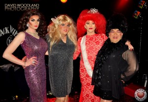 Congrats to Ivanna Boogie, the winner of Drag hens Den 2014. Pictured here last years winner Lady Peaches Monroe, Madonna Lucia, Ivanna Boogie and Sheila Fitspatrick. Picture: David Woodland