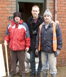 Richard Lynch pictured with resident Paddy Griffin and volunteer John Costello. Picture: Leon Ledger