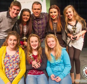 Richard pictured at the Limerick Youth Service Variety show with judge Dara Fahey, singer Leah Melling, judge Aoife McLoughlin, singer Sarah Meade (back) and members of the group Chase, Emma Meehan, Aoife Barrett and Georgia Donegan (front). Picture: Jonathan Baynes