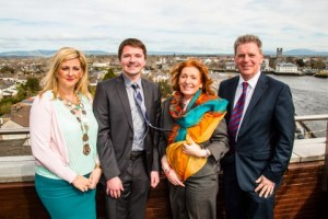 Pictured at the launch of the Limerick office of MyMind were Orla McLoughlin, Deputy Mayor of Limerick; Krystian Fikert, founder and CEO of MyMind; Kathleen Lynch, T.D., Minister of State and Gerry Raleigh, Director of the National Office for Suicide Prevention (NOSP). Photo: Paul Dorrell/ImageBureau