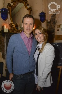 Richard with Gillian Horan at the launch of her branding agency 'The Pudding'. Picture: caleb Purcell.