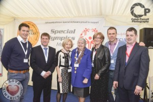 At a special celebratory event to mark the 10 year partnership between Special Olympics and Johnson & Johnson - Richard with David Wallace, Matt English CEO Special Olympics, Cllr Mary Jackman, Mayor Kathleen Leddin, Noelette Ensko, Head of HR Vistakon and Jim Hackett, Operations Director Vistakon. Picture: Caleb Purcell.