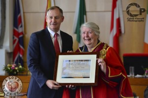 Limerick City and County Manager/Chief Executive Conn Murray with Mayor Kathleen Leddin. Picture: Caleb Purcell