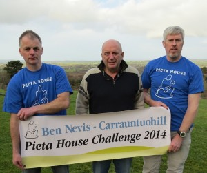 Declan Rambsbottom (guide), renowned adventurer Pat Falvey and Cathal McNicholas of Roscrea-based group Walk in Ireland at the foot of Carrauntoohill to launch the Carrauntoohill/Ben Nevis Challenge in aid of Pieta House. The challenge will take place in August and September this year and people are asked to register for the challenge by contacting Cathal at Walk in Ireland before 30th April.  Missing from photo is guide Gemma Collins.