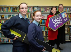 Helping launch the Going for Gold Story Competition at Limerick City Library were, Melanie McKnight and Ava Mulqueen, 2nd year students, St. Marys Secondary School, Sue Ann Foley, Director of the JP McManus Benevolent Fund and Helen O'Donnell, Limerick City Centre Tidy Towns. Picture: Alan Place.