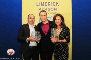 Richard Lynch with Limerick Person of the Year writer Donal Ryan and Celia Holman Lee who achieved a Lifetime Achievement Award. Picture: Noel Salisid.
