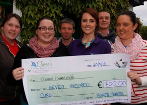 Pictured presenting the cheque to Rachel Leahy of Cliona's Foundation are (L-R) Ciara Bartley and Michelle Lynch and fellow members of the Boher Macra Na Feirme.