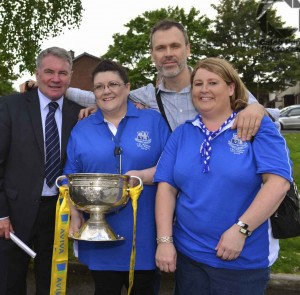 Richard with Ray Houghton, Linda Ledger, St Munchins Community Centre and Anne Marie Stack, Ballynanty Rovers. Picture: Caleb Purcell
