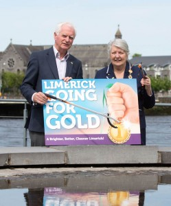 Gery Boland and The Mayor Kathleen Leddin at Limerick City Hall today for the launch of the Limerick Going For Gold 2014 campaign. Picture: Sean Curtin Photography