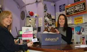 Pictured: Salena Grace (Limerick Volunteer Centre) getting 10% discount from Natasha O Flynn ( Wacky Shoes).