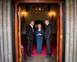 Michael Flatley, Loretta Brennan Glucksman,UL Foundation Chairman and UL President Don Barry discuss the business of philanthropy at the University of Limerick President's Dinner 2014 at Adare Manor.  Picture: Alan Place Photography