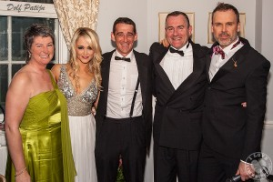 Richard pictured at the  The Olde Hollywood Ball in aid of Cliona's Foundation with founder Terry Ring,  ambassadors Leanne Moore and Davy Russell and founder Brendan Ring. Picture: Dolf Patijn