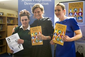 "At the book launch of ""Limerick People"" at St Enda's Community School's JCSP Library - student Kourtney Fitzpatrick, Celia Holman Lee and JCSP librarian Jane Bingham-Shee. Picture: Caleb Purcell"
