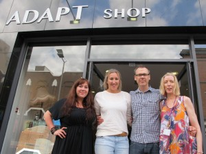 Pictured: Sabine Zybura, Laura Bohan, I Love Limerick's Richard Lynch and Orla O'Callaghan outside the new ADAPT shop on Sarsfield Street.