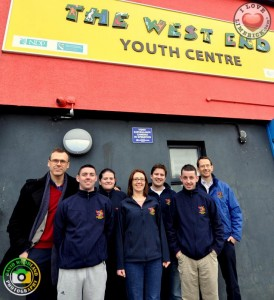 Pictured: Richard Lynch with the crew of the West End Youth Centre.