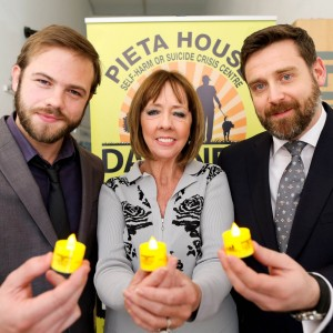 Pictured were (l to r)  Moe Dunford; Actor, Joan Freeman; Founder of Pieta House and Brian Higgins: CEO of Pieta House at the national launch of Darkness