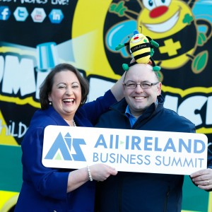 Pictured are Elaine Carroll, All Ireland Business Summit's Programme Director who today announced Bumbleance, the childrens' ambulance service, as the event's charity partner, and Tony Heffernan, Bumbleance founder/CEO.