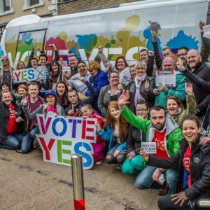 Richard with friends with the Say Yes Marriage Equality bus during its visit to Limerick. Picture: Jonathan Baynes