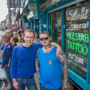 Richard pictured with Lola Nagle's dad Ross Nagle, the owner of Allstar Ink Tattoo Parlour. Picture: Jonathan Baynes