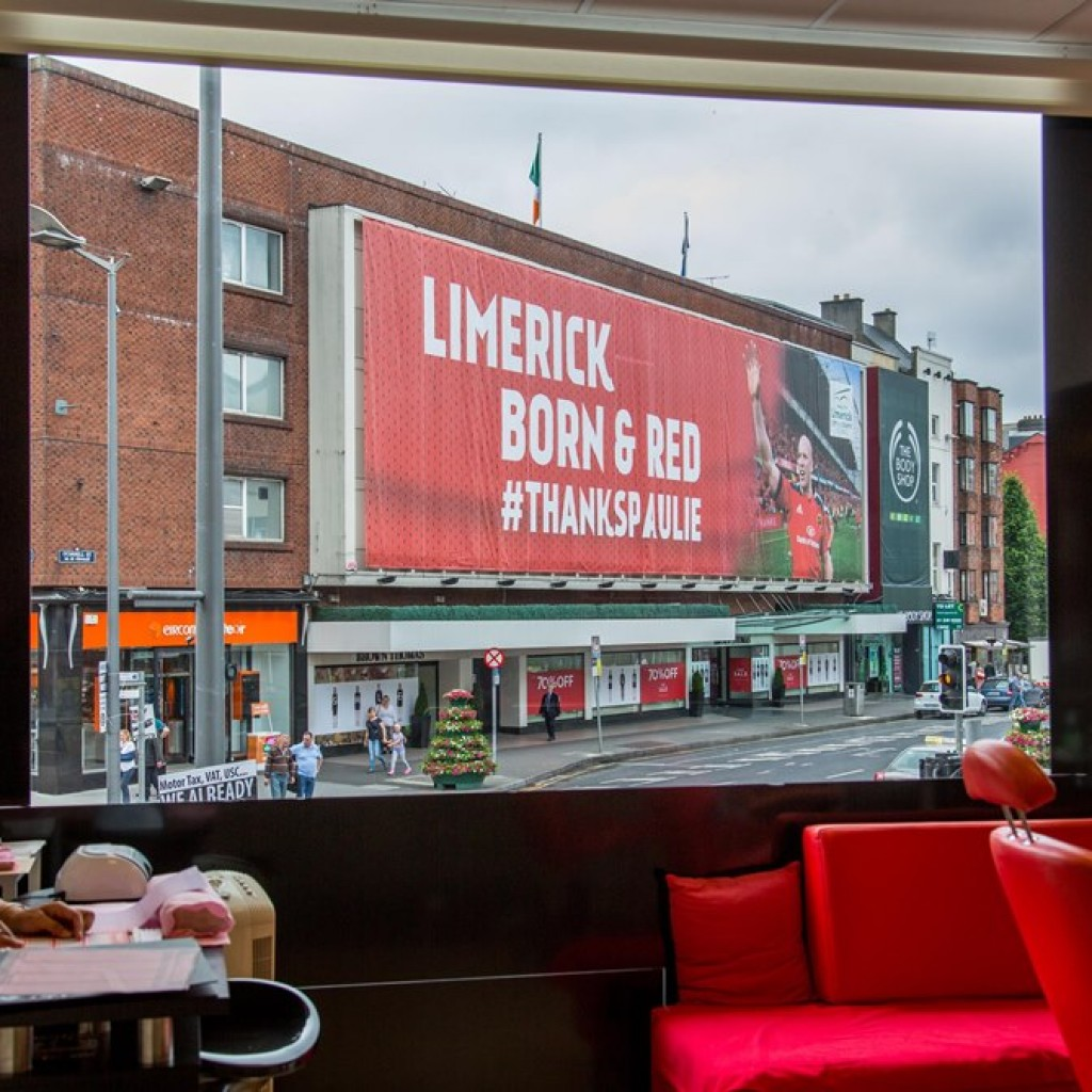 Limerick council erected a giant poster for Paul O Connell overnight