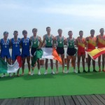Pictured between Italian and Spanish teams: Andrew Goff (Waterford) Patrick Munnelly (Athlone) Eoghan Whittle (Castleconnell) Colm Hennessy (Shandon)