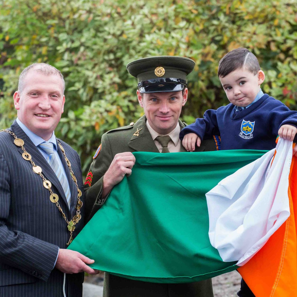 Defence Forces presented a handmade tricolour to Limerick schools