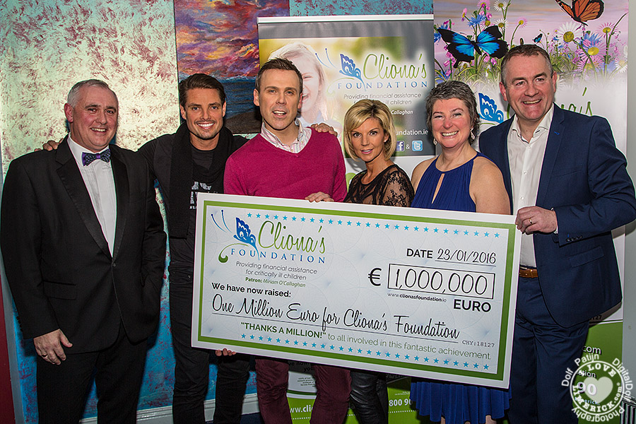 Clionas Foundation celebrate raising one million euro with Keith Duffy - Tom Tierney, Chairperson Clionas Foundation, Keith Duffy Foundation, Richard Lynch, I Love Limerick, Lisa Duffy, Keith Duffy Foundation, Terry and Brendan Rings, Founders Cliona's Foundation. Picture: Dolf Patijn/ilovelimerick