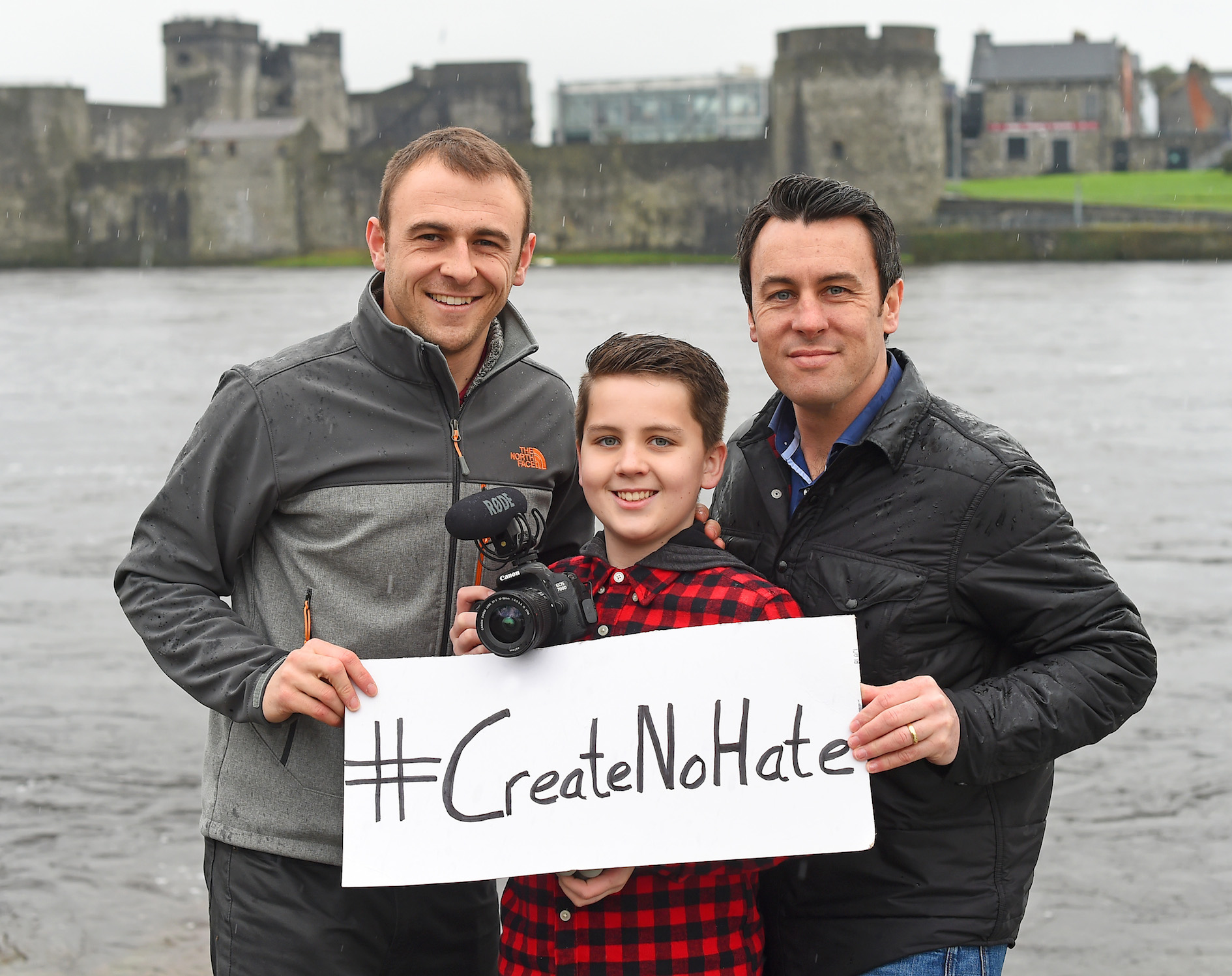 The #CreateNoHate team - Luke Culhane with his cousin videographer Diarmuid Greene and his dad Dermot Culhane