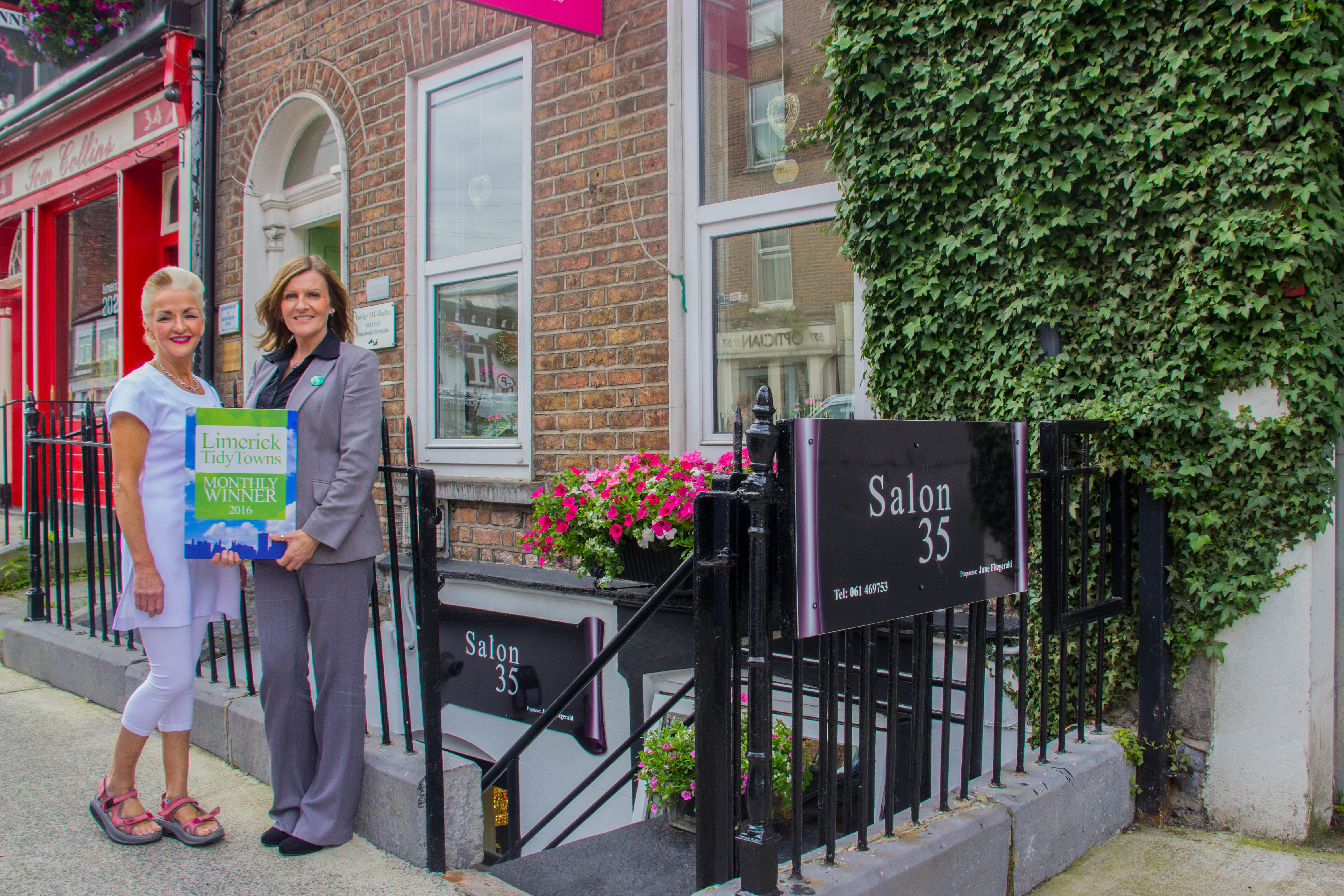 Limerick Tidy Towns award July 2016, Maura O'Neill of Limerick Tidy Towns with July winner June Fitzgerald of Salon 35, Cecil Street. Picture by Cian Reinhard