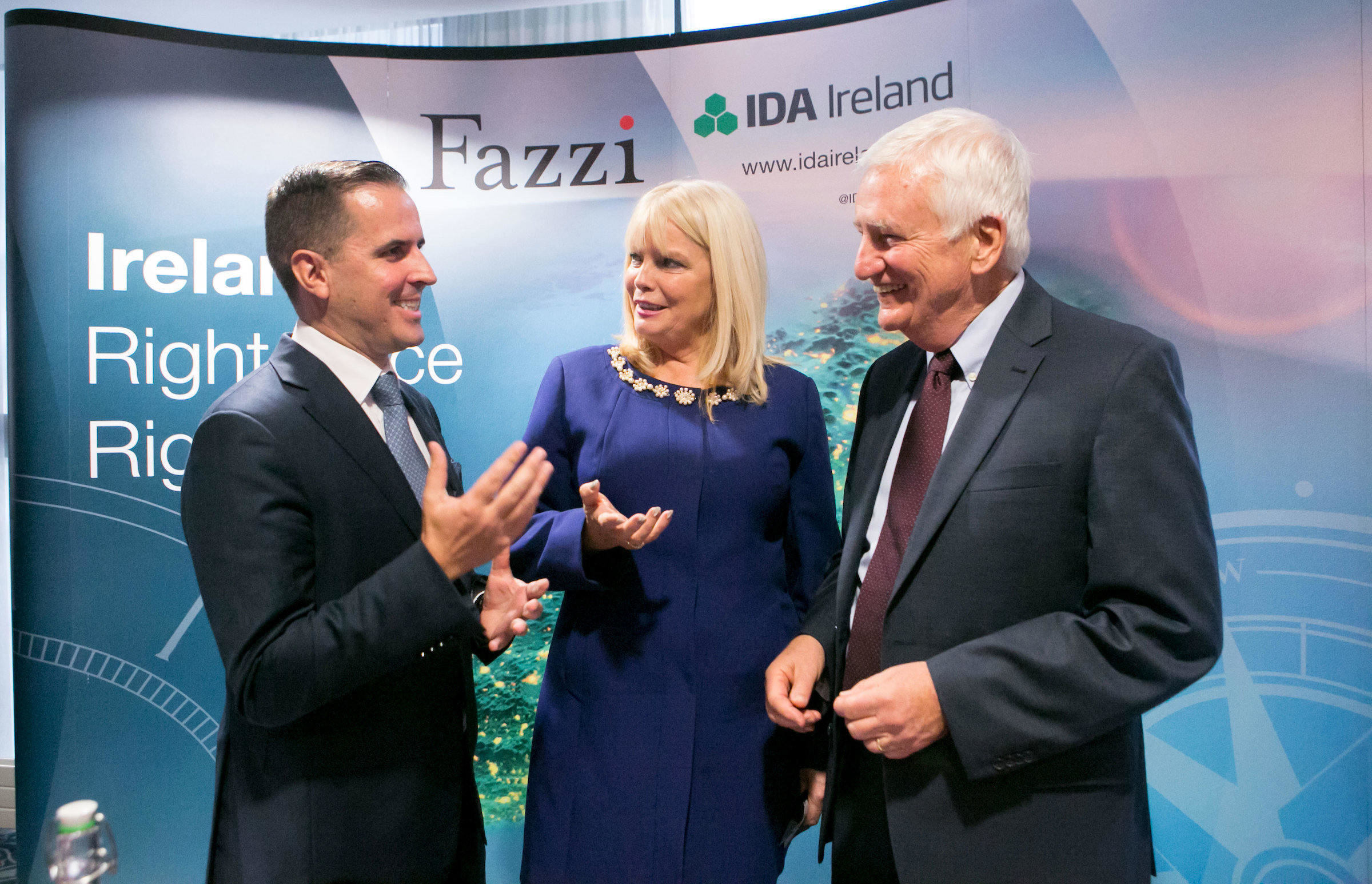 Martin Shanahan, CEO IDA Ireland,Minister for Jobs, Enterprise and Innovation, Mary Mitchell-O'Connor T.D., &  Dr Robert Fazzi, company's Founder and Managing Partner Picture Credit Brian Gavin Press 22