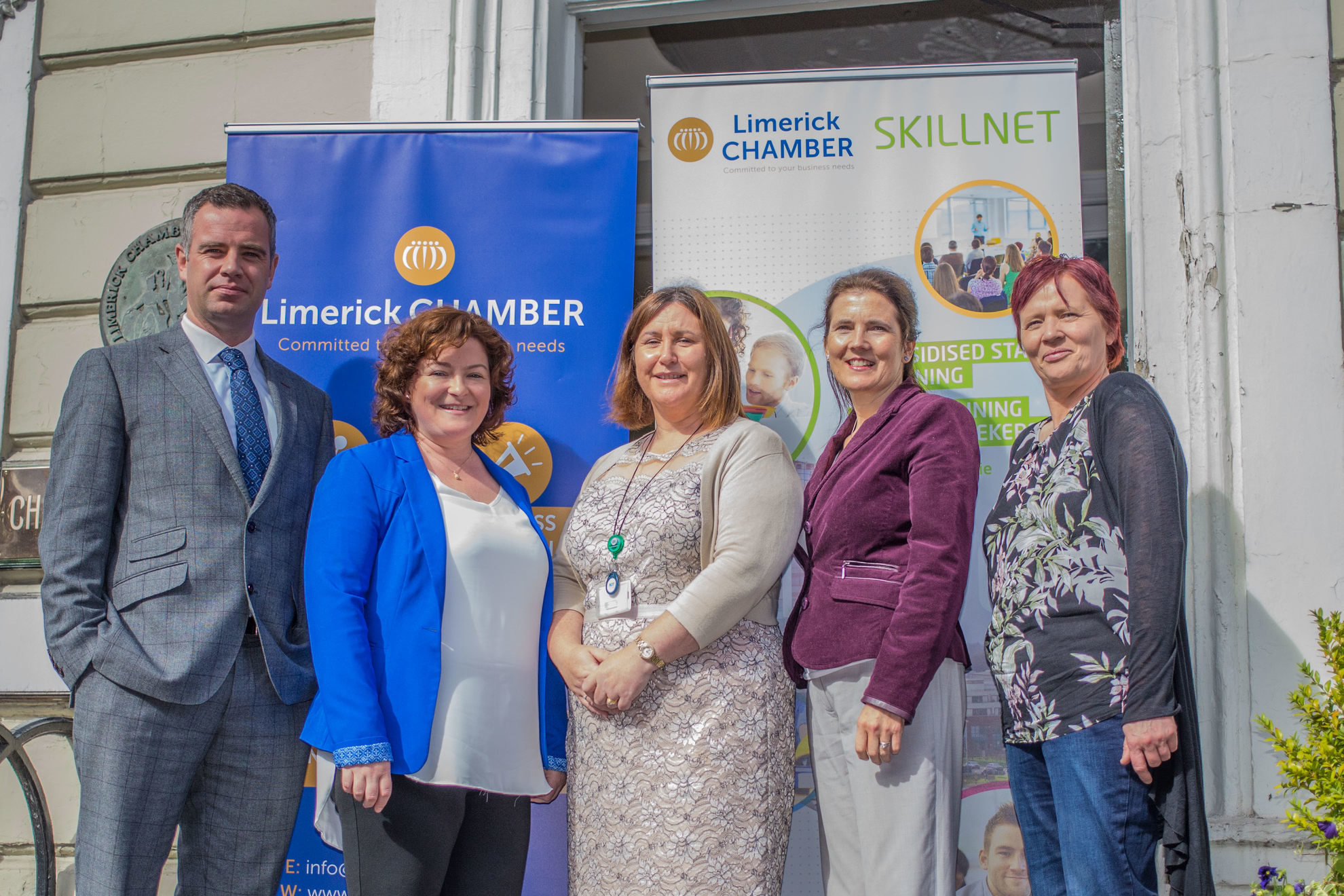 Pictured at the launch of the Limerick Jobs Fair sponsored by the Limerick Chamber, Limerick Chamber Skillnet and the Department of Social protection wereDr James Ring, Limerick Chamber, Rachel Joyce, Limerick Chamber Skillnet, Catherine Hurley, Department of Social Protection, Anne Morris, Limerick Chamber Skillnet and Mary Penny, Department of Social Protection. picture: Cian Reinhardt/ilovelimerick