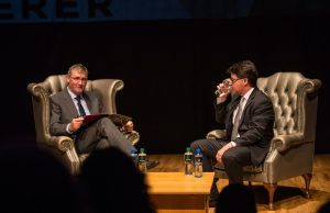 Professor Shane Kilcommins in coversation with Dean Strang in the UCH. Picture: Cian Reinhardt/ilovelimerick.