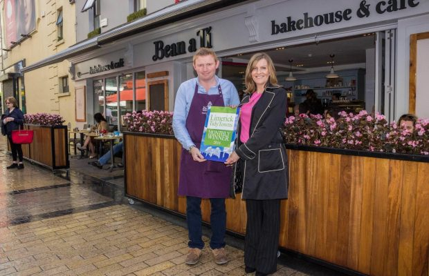 Limerick Tidy Towns Monthly Award September 2016. John Canty of Bean a Ti Bakery receiving the Limerick Tidy Towns Monthly Award September 2016 with Maura O'Neill of Limerick Tidy Towns. Picture Cian Reinhardt/ilovelimerick.