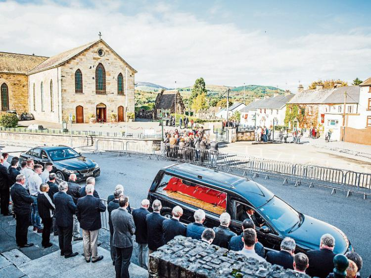The hearse carrying the remains of Anthony Foley arrive at St Flannan's Church, Killaloe - Picture: Brian Arthur