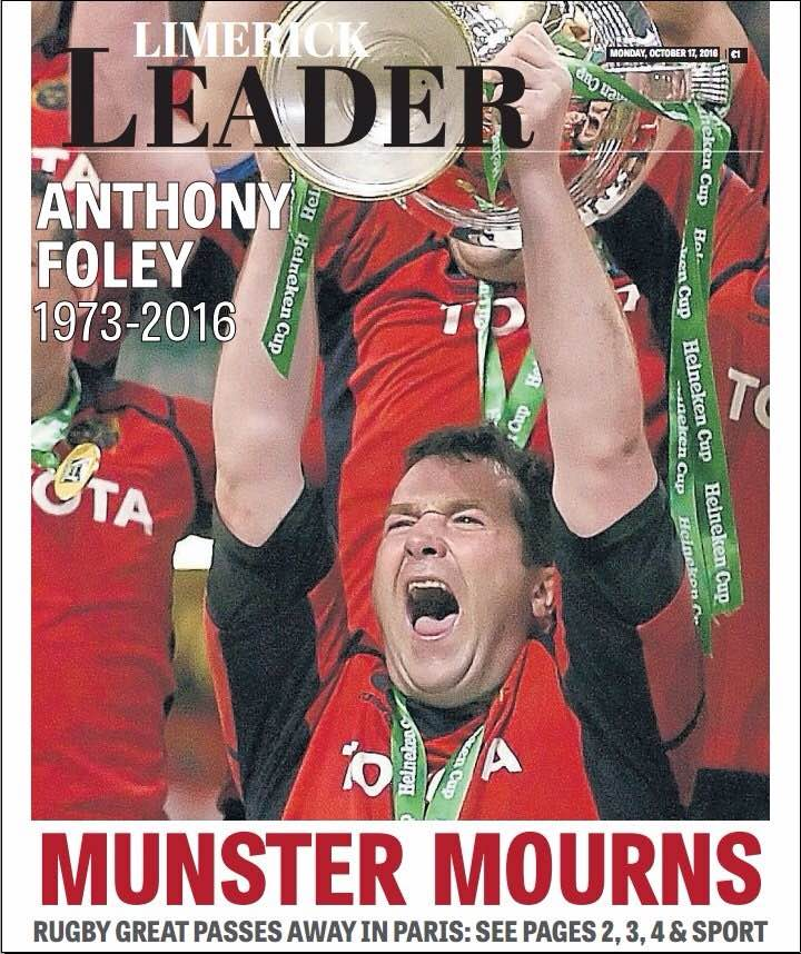 The Limerick Leader, Monday October 17 2016, cover dedicated to legend Anthony Foley