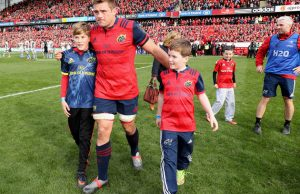 Cj Stander with Anthony Foley's children Tony and Dan Foley after last weekend's game. Picture: Dan Sheridan/INPHO