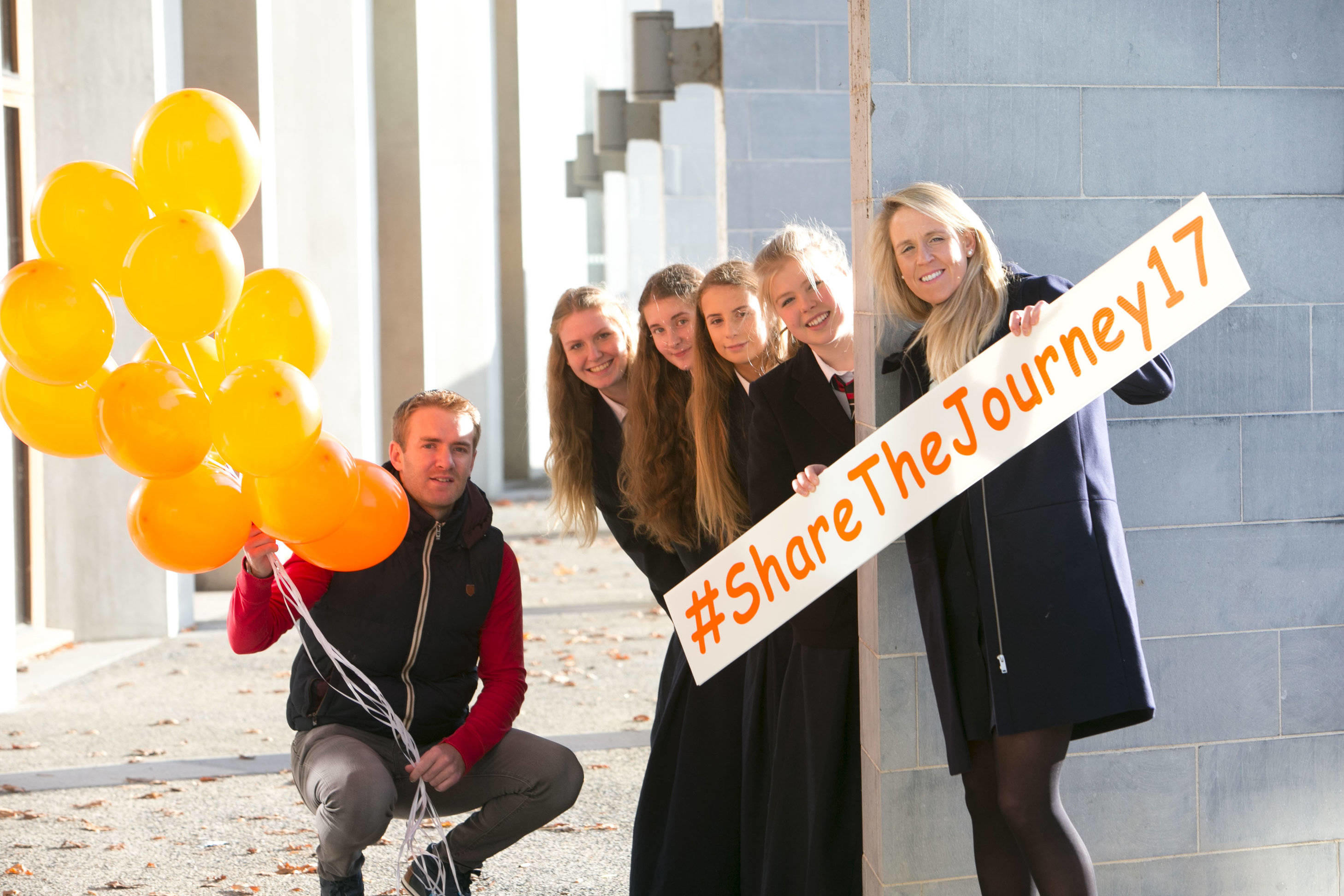 Pictured at the Launch of the Cycle Against Suicide launch Student LeadersÕ Congress 2017 were: Tipperary hurler Noel McGrath,Ireland womenÕs rugby Grand Slam winner and refereeing pioneer Joy Neville pictured with Isabelle Luff, Robyn Cleary, Clodagh Harrington and Ciara Koenig from Villiers School in Limerick. Picture Credit Brian Gavin Press 22