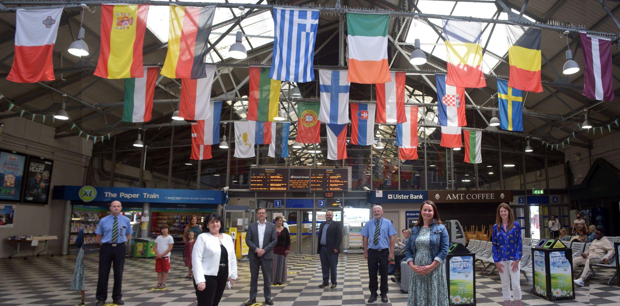 European Union Flags display