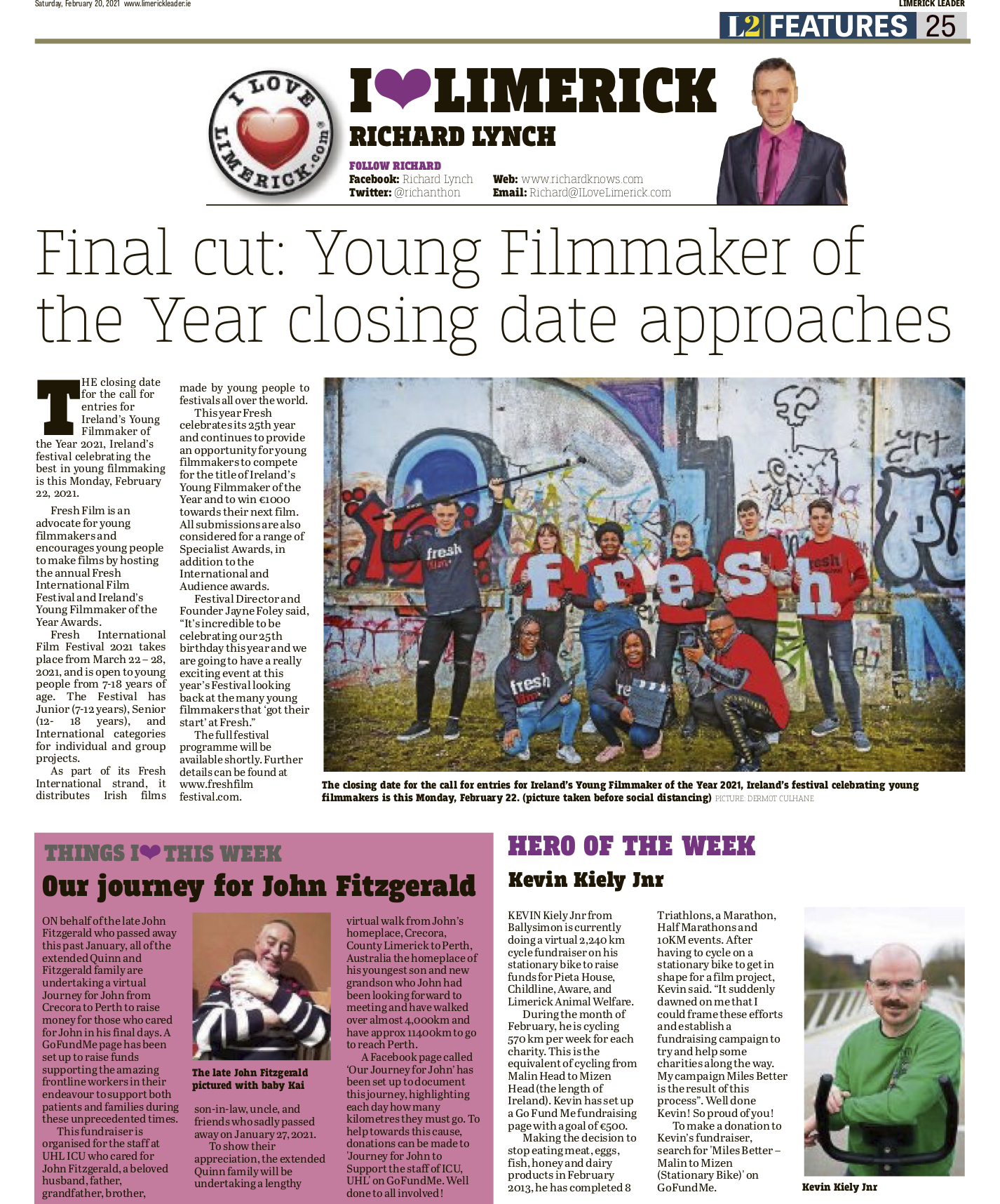 The Leader Column February 20 2021 - Ireland's Young Filmmaker